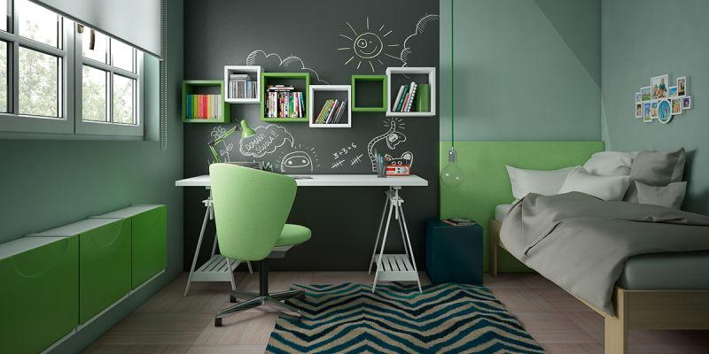 Verde mela un colore vitaminico per la camera dei bambini fai da te leroy merlin - Camera da letto verde mela ...