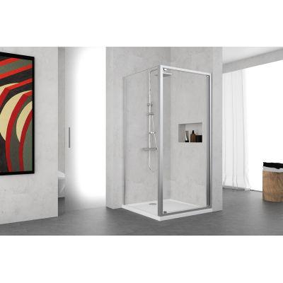 Porta doccia battente Oceania 78-84, H 195 cm vetro temperato 5 mm ...
