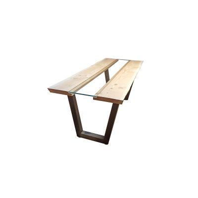 Tavolo Vertigo legno e vetro L 160 x P 85 x H 80 cm grezzo: prezzi e ...
