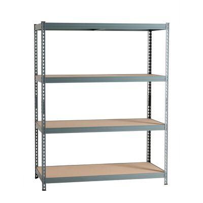 Scaffale metallo grigio Spaceo 4 ripiani in legno L 150 x P 60 x H ...