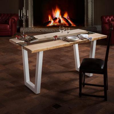Tavolo Vertigo verniciato bianco legno e vetro L 160 x P 85 x H 80 ...