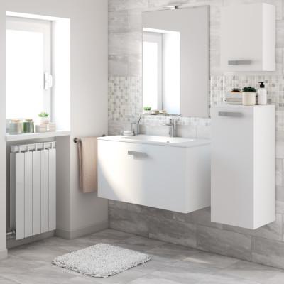 Mobile bagno Basic bianco, frassino poro aperto L 90 cm ...