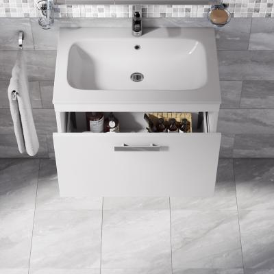 Mobile bagno Basic bianco, frassino poro aperto L 70 cm ...