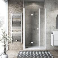 Doccia con porta pieghevole lato fisso in linea Neo 72 - 76 + 40 cm, H 201,7 cm vetro temperato 6 mm trasparente/bianco opaco