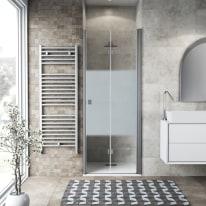 Porta doccia Neo 77-81, H 201,7 cm vetro temperato 6 mm serigrafato/silver
