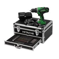 Trapano avvitatore con percussione Hitachi + valigetta con 100 accessori, 18 V 1,5 Ah, 2 batterie