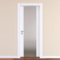 Porta da interno battente Plaza Vetro frassino bianco 80 x H 210 cm dx
