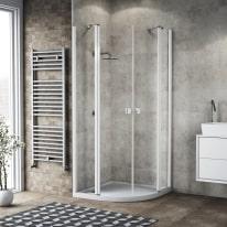 Box doccia battente Neo 77,5-79,5, H 201,7 cm vetro temperato 6 mm trasparente/bianco opaco