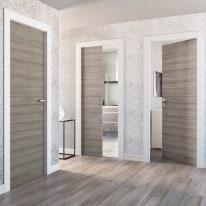 Porta da interno battente One grigio/bianco 80 x H 210 cm reversibile