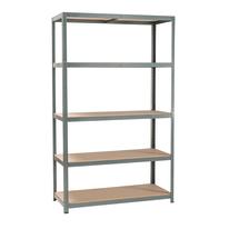 Scaffale metallo grigio Spaceo 5 ripiani in legno L 120 x P 50 x H 196 cm