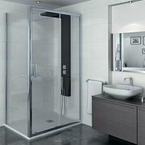 Porta doccia scorrevole Manhattan 146-150, H 200 cm cristallo 6 mm trasparente/cromo