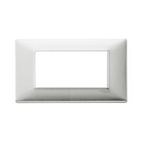 Placca 4 moduli Vimar Plana alluminio spazzolato