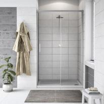Porta doccia scorrevole Remix 117-120, H 195 cm cristallo 6 mm trasparente/silver