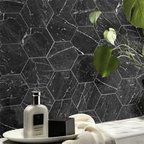 Piastrella Esagona 15 x 17,3 cm bianco, nero