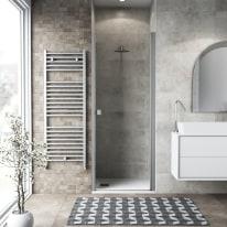Porta doccia battente Neo 87-90, H 201,7 cm vetro temperato 6 mm trasparente/silver