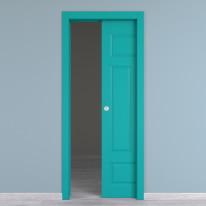 Porta da interno scorrevole Coconut Groove azzurro 70 x H 210 cm reversibile
