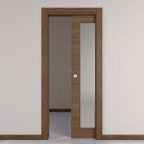 Porta da interno scorrevole Stenophylla vetro Cacao 70 x H 210 cm reversibile