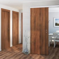 Porta da interno battente One walnut Noce 80 x H 210 cm reversibile