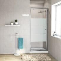 Porta doccia battente Dado 77-80, H 185 cm cristallo 5 mm serigrafato/silver