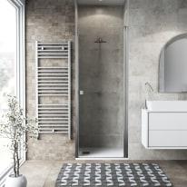 Porta doccia battente Neo 82-86, H 201,7 cm vetro temperato 6 mm trasparente/cromo PVD