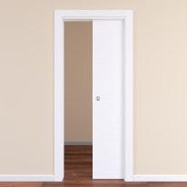 Porta da interno scorrevole Plaza Frassino bianco 70 x H 210 cm reversibile