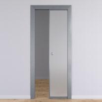 Porta per ufficio scorrevole Office vetro temperato bianco satinato 60 x H 210 cm reversibile