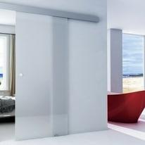 Porta da interno scorrevole Alu Neutra 86 x H 215 cm reversibile