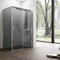 Porta doccia scorrevole Master 162,5-165, H 196 cm vetro temperato 8 mm trasparente/argento lucido