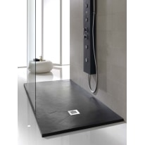 Piatto doccia poliuretano Soft 90 x 80 cm nero