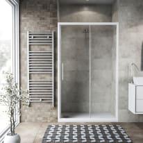 Porta doccia scorrevole Record 127-131, H 195 cm vetro temperato 6 mm trasparente/bianco opaco
