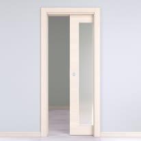 Porta da interno scorrevole Lucad Vetro Graf Matrix 70 x H 210 cm reversibile