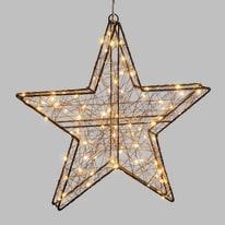 Decorazione luminosa stella 3d 80 minilucciole Led classica gialla L 40 cm