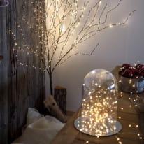 Ramo marrone luminoso 576 minilucciole Led classica gialla H 180 cm