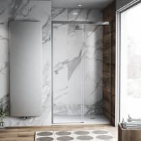 Porta doccia scorrevole Neo Plus 147-149, H 200 cm vetro temperato 6 mm trasparente/cromo PVD