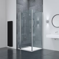Box doccia battente Frameless 75-80 x 76,5-79, H 195 cm cristallo 6 mm fumè acidato/silver