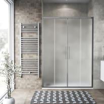 Porta doccia scorrevole Record 167-171, H 195 cm vetro temperato 6 mm satinato/silver lucido