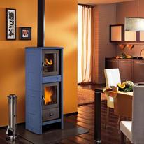 Stufa a legna con forno Morena blu