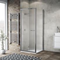 Doccia con porta pieghevole e lato fisso Record 87 - 91 x 77 - 79 cm, H 195 cm vetro temperato 6 mm satinato/silver lucido