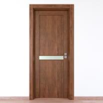 Porta da interno battente Spyhole nut larice noce 60 x H 210 cm sx