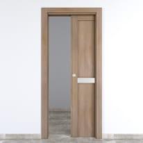 Porta da interno scorrevole Spyhole sand larice sabbia 80 x H 210 cm reversibile