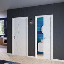 Porta da interno scorrevole Dna Laccato Bianco 80 x H 210 cm reversibile