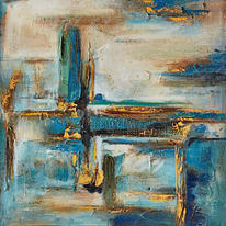dipinto su tela Astratto blu 60x60