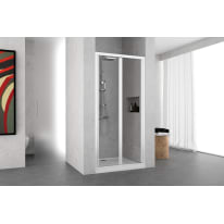 Porta doccia Oceania 84-90, H 195 cm vetro temperato 4 mm trasparente/bianco lucido