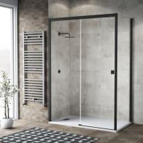 Doccia con porta scorrevole e lato fisso Neo 137 - 141 x 77 - 79 cm, H 200 cm vetro temperato 6 mm trasparente/nero