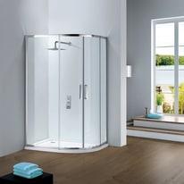 Box doccia scorrevole Slimline 75-80 x 85-90, H 195 cm cristallo 6 mm trasparente/silver