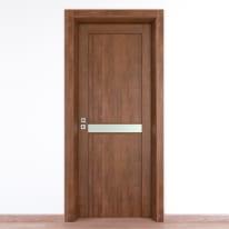 Porta da interno battente Spyhole nut larice noce 70 x H 210 cm dx