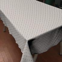 Tovaglia cotone resinato Pois tortora 220 x 140 cm