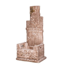 Fontana a colonna Quadrifoglio color tufo