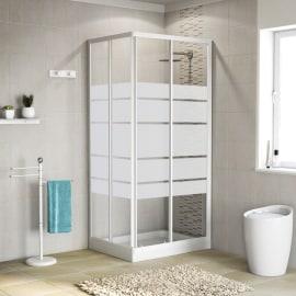 Box doccia scorrevole Nerea 67.5-77,5 x 79-89, H 185 cm cristallo 4 mm serigrafato/bianco lucido
