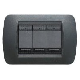 Placca 3 moduli BTicino L4803PA Living International acciaio scuro